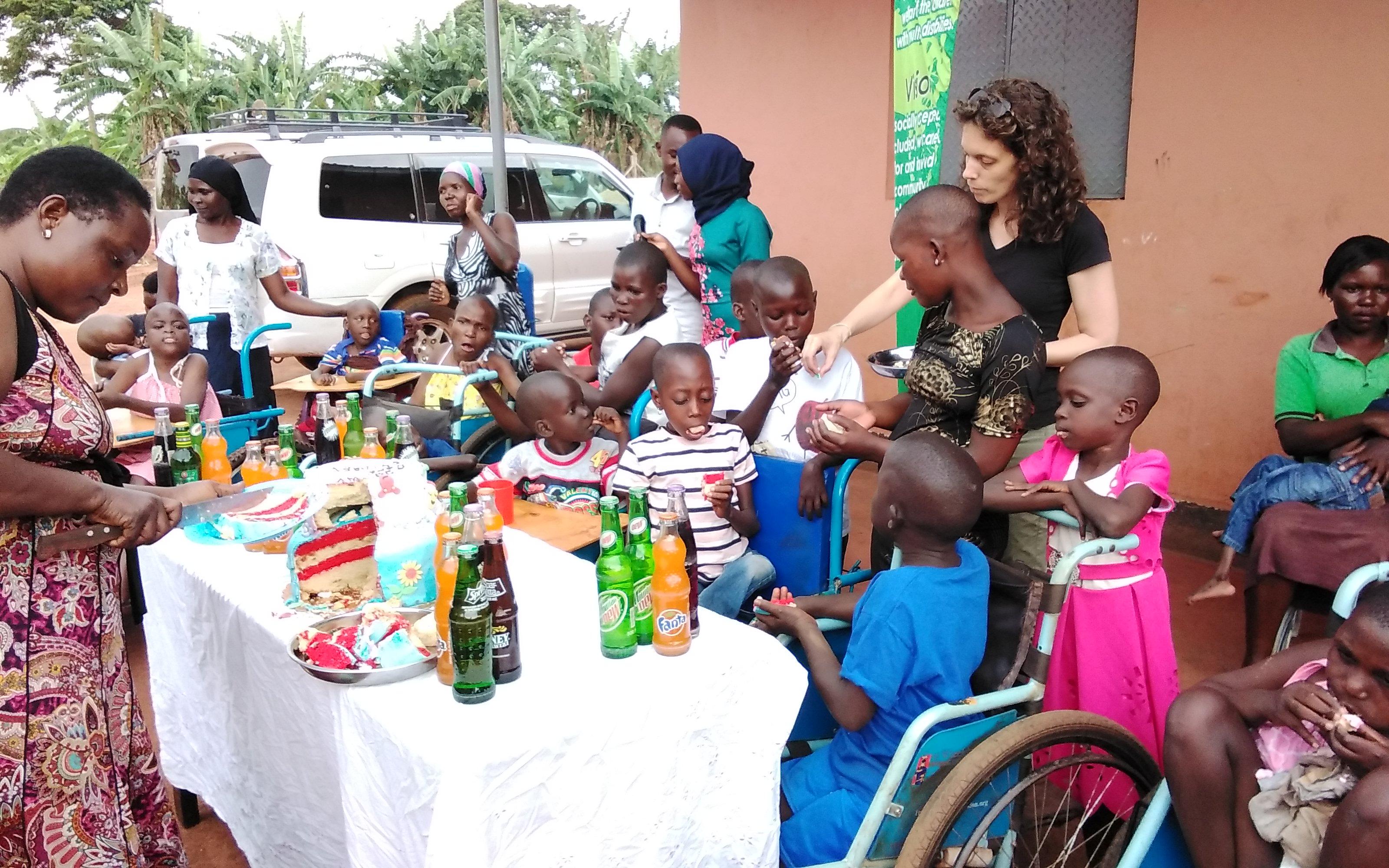 Children's birthday party held outdoors